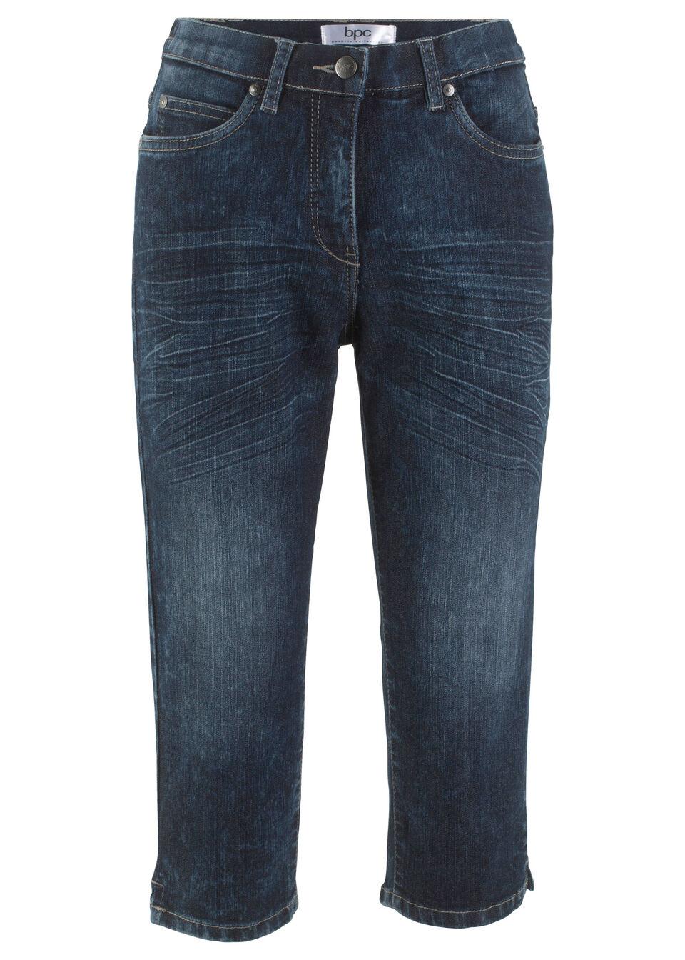 Эластичные джинсы-капри с эффектом «потертости»