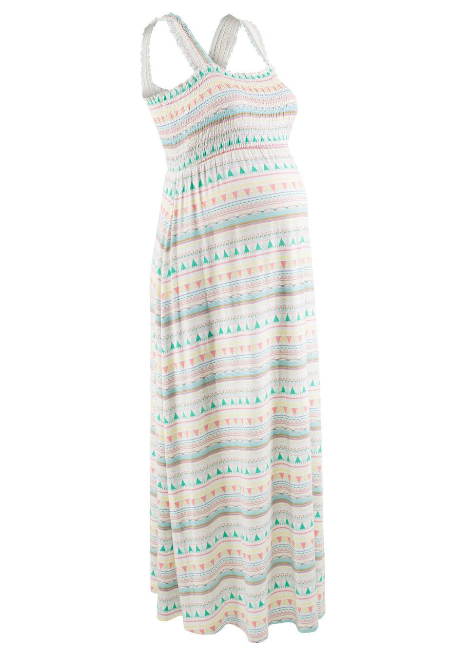 Sukienka ciążowa shirtowa bonprix biały wzorzysty