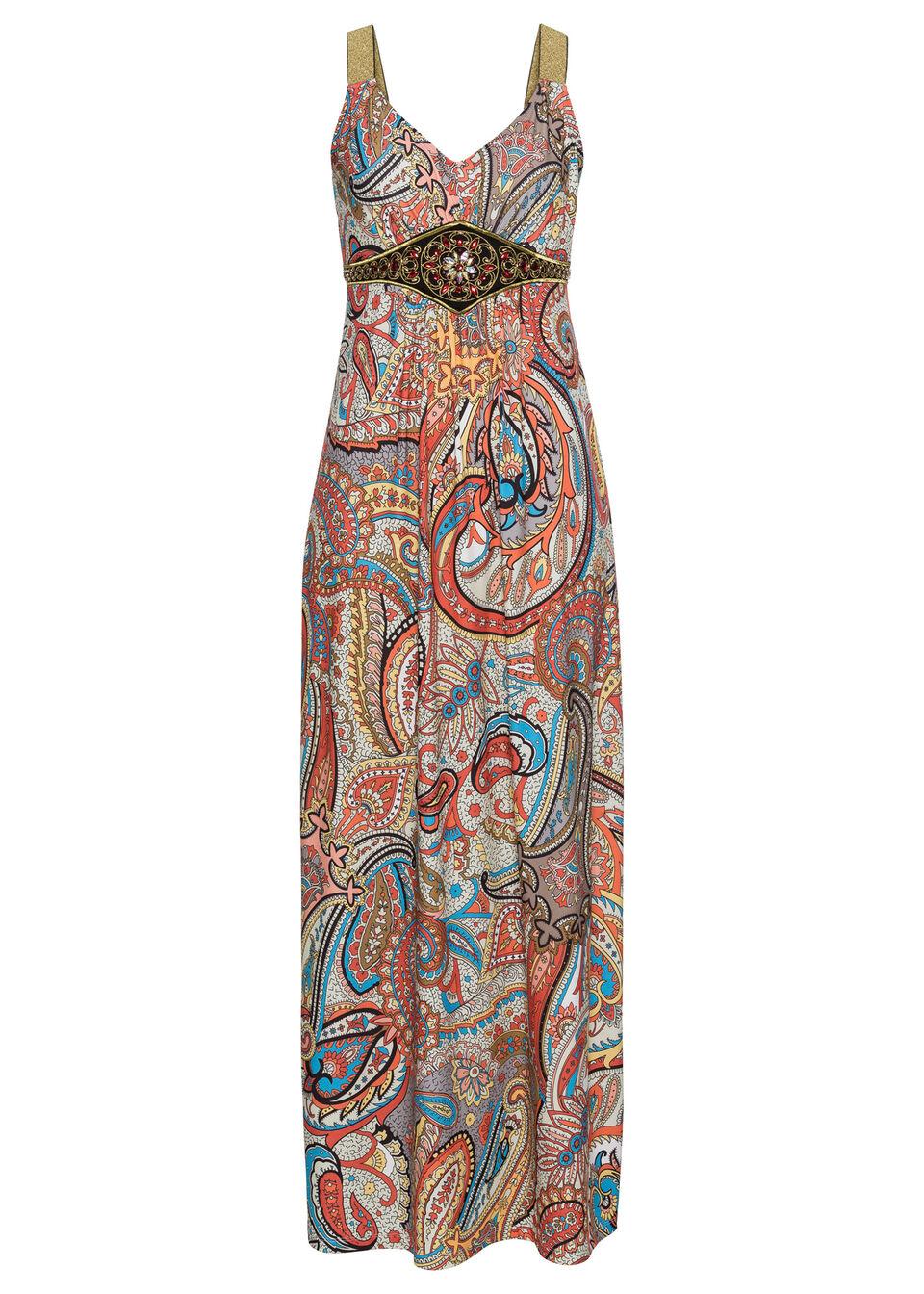 Купить Летнее платье с принтом и аппликациями, bonprix, желтый-розовый с рисунком