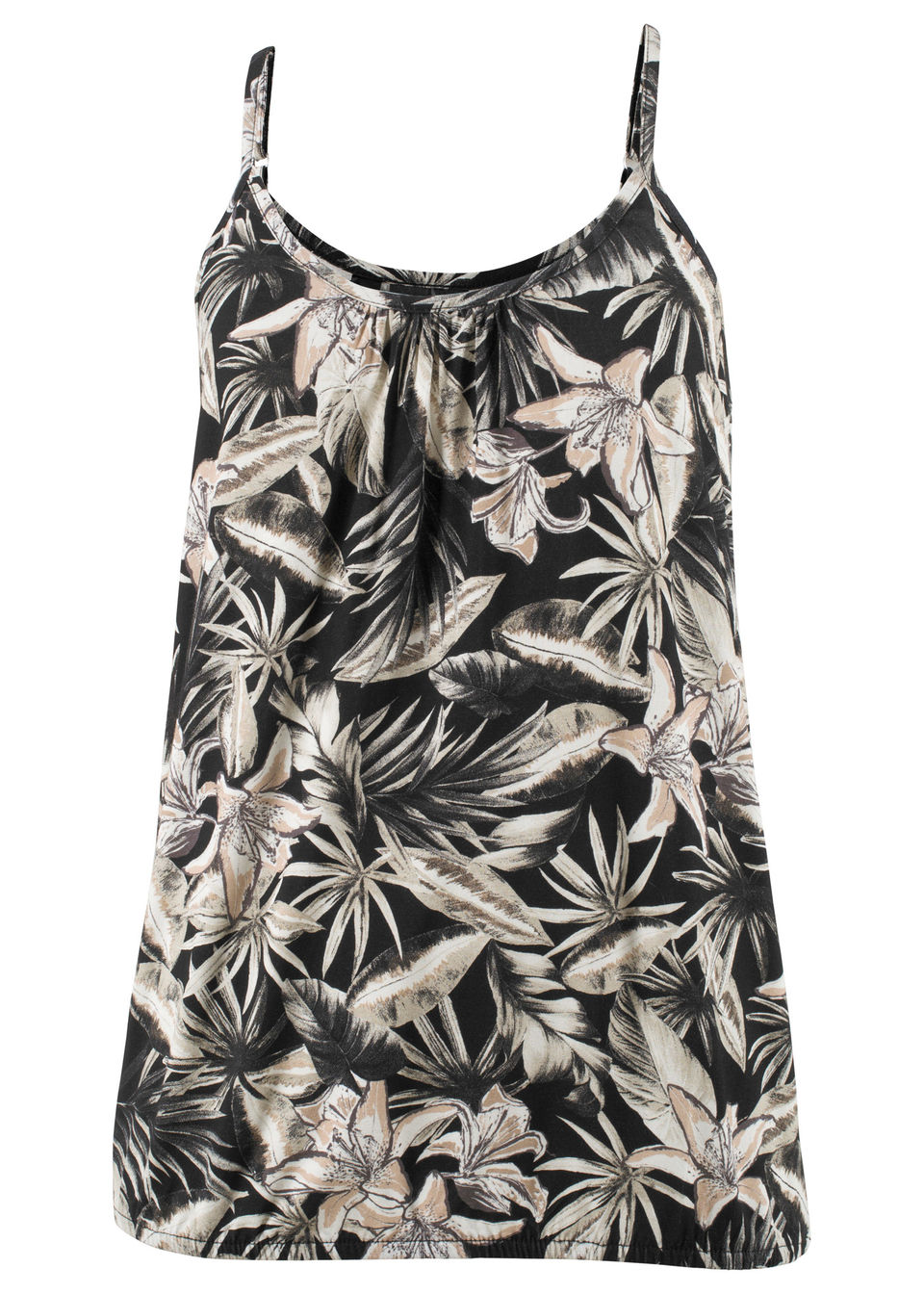 Shirt z kwiatowym nadrukiem bonprix czarny z nadrukiem