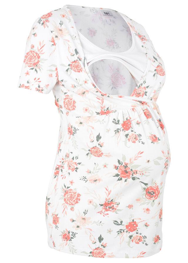 4469efb3d6 Kismama szoptatós póló fehér/virágmintás • 4499.0 Ft • bonprix