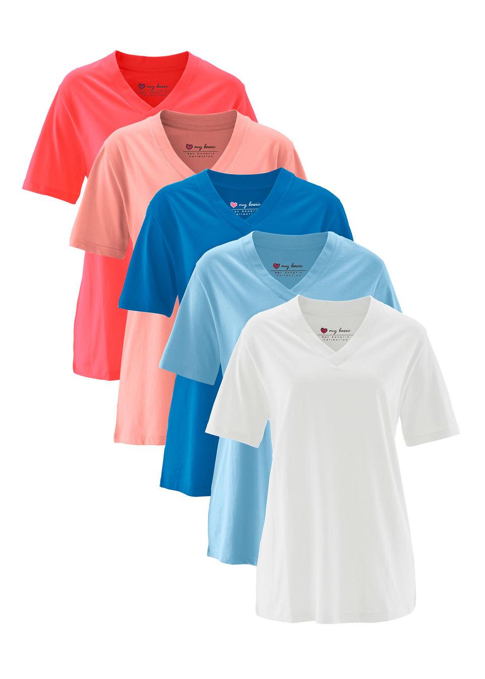 Długi shirt z dekoltem w szpic (5 sztuk), krótki rękaw bonprix jasny koralowy + koralowy + jasnoniebieski + lazurowy + biały bonprix