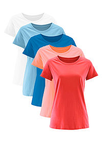 Tricou decolteu rotund (5buc.) coral deschis/homar/bleu/azuriu/alb bpc bonprix collection 0
