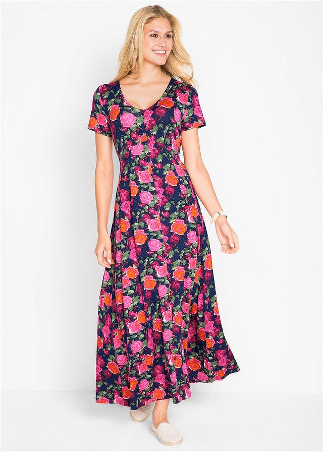 8c99b1f57c113 Długa sukienka z krótkim rękawem • niebieski w kwiaty • bonprix sklep