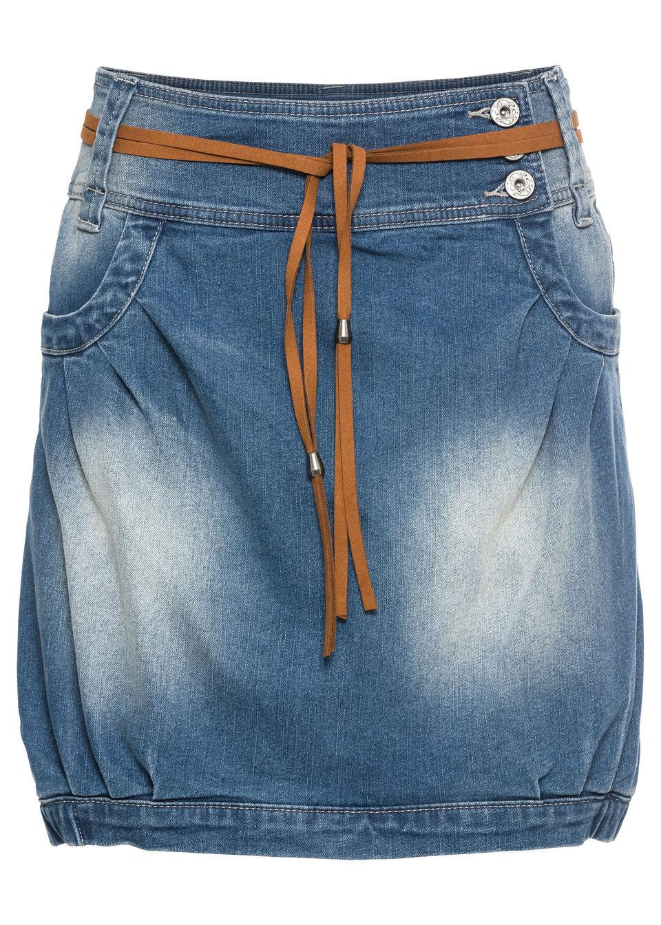 Купить Юбка джинсовая с ремнем, bonprix, синий «потертый»