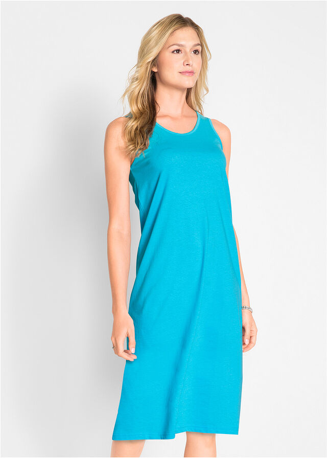 70454c48f1 Sukienka z dżerseju (2 szt.) • niebieski capri + ciemnoniebieski • bonprix  sklep