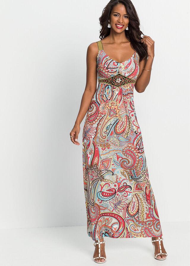 75d90a64a9de Letné šaty s potlačou a aplikáciou • žltá-ružová potlačená • bonprix obchod