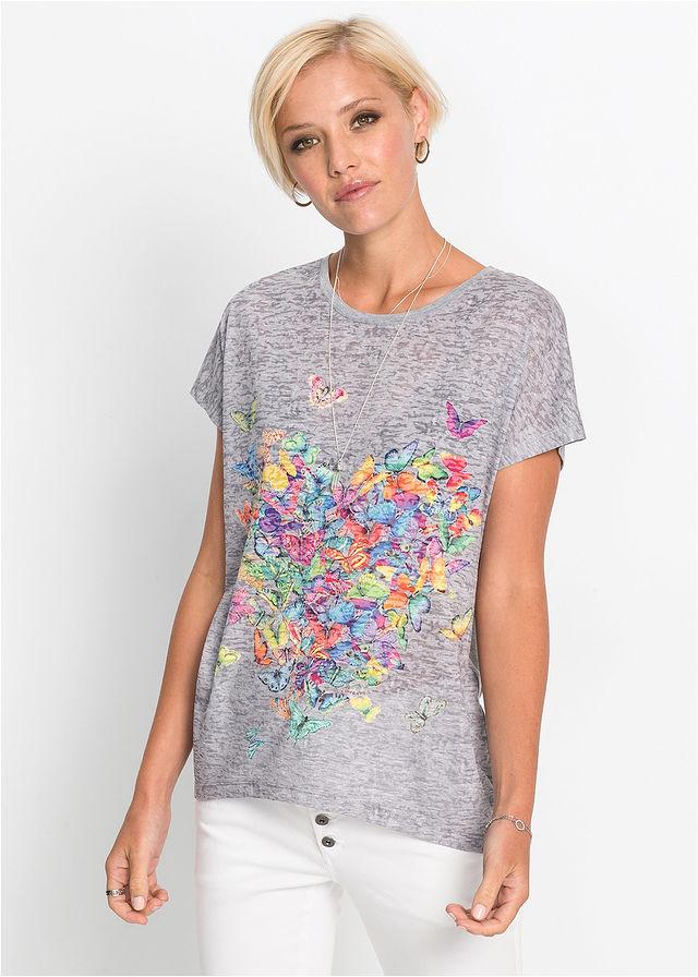 221616f7bcd1 Tričko s potlačou motýľov • svetlosivá melírovaná potlačená • bonprix obchod