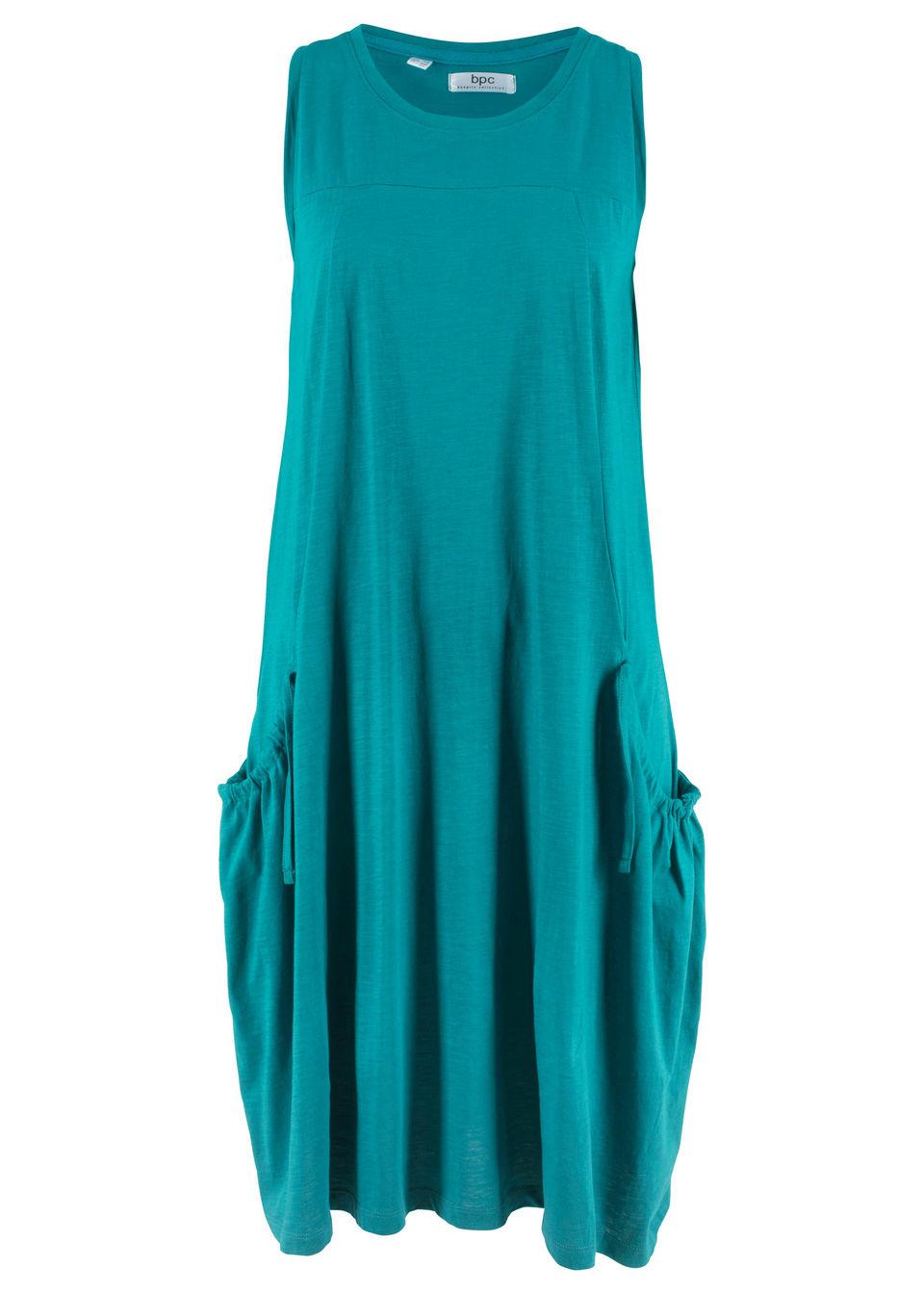 Sukienka bawełniana shirtowa z kieszeniami bonprix kobaltowo-turkusowy