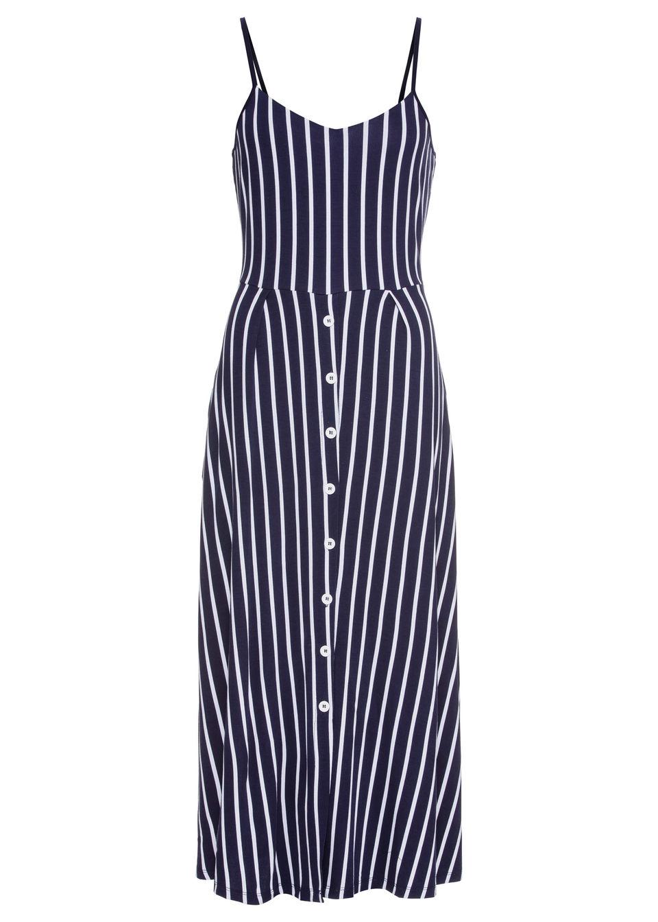 Sukienka midi w paski bonprix ciemnoniebiesko-biały w paski