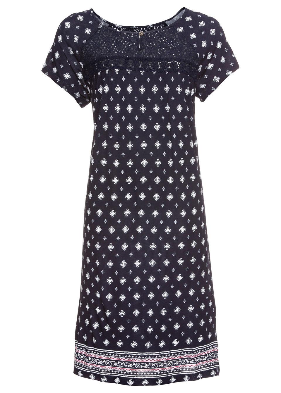 Купить Платье с кружевной отделкой, bonprix, темно-синий/белый с рисунком