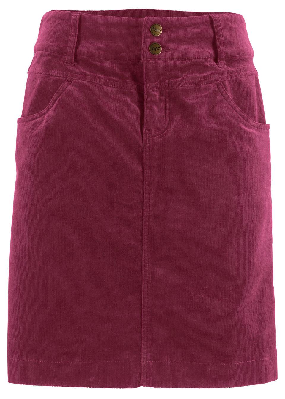 Spódnica sztruksowa ze stretchem bonprix Spódnica sztruk czer.rod
