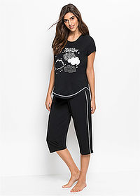 Pijama capri negru/alb bpc bonprix collection 1
