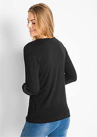726e641e1a21f7 Sweter rozpinany z gładkiej dzianiny czarny • 59.99 zł • bonprix