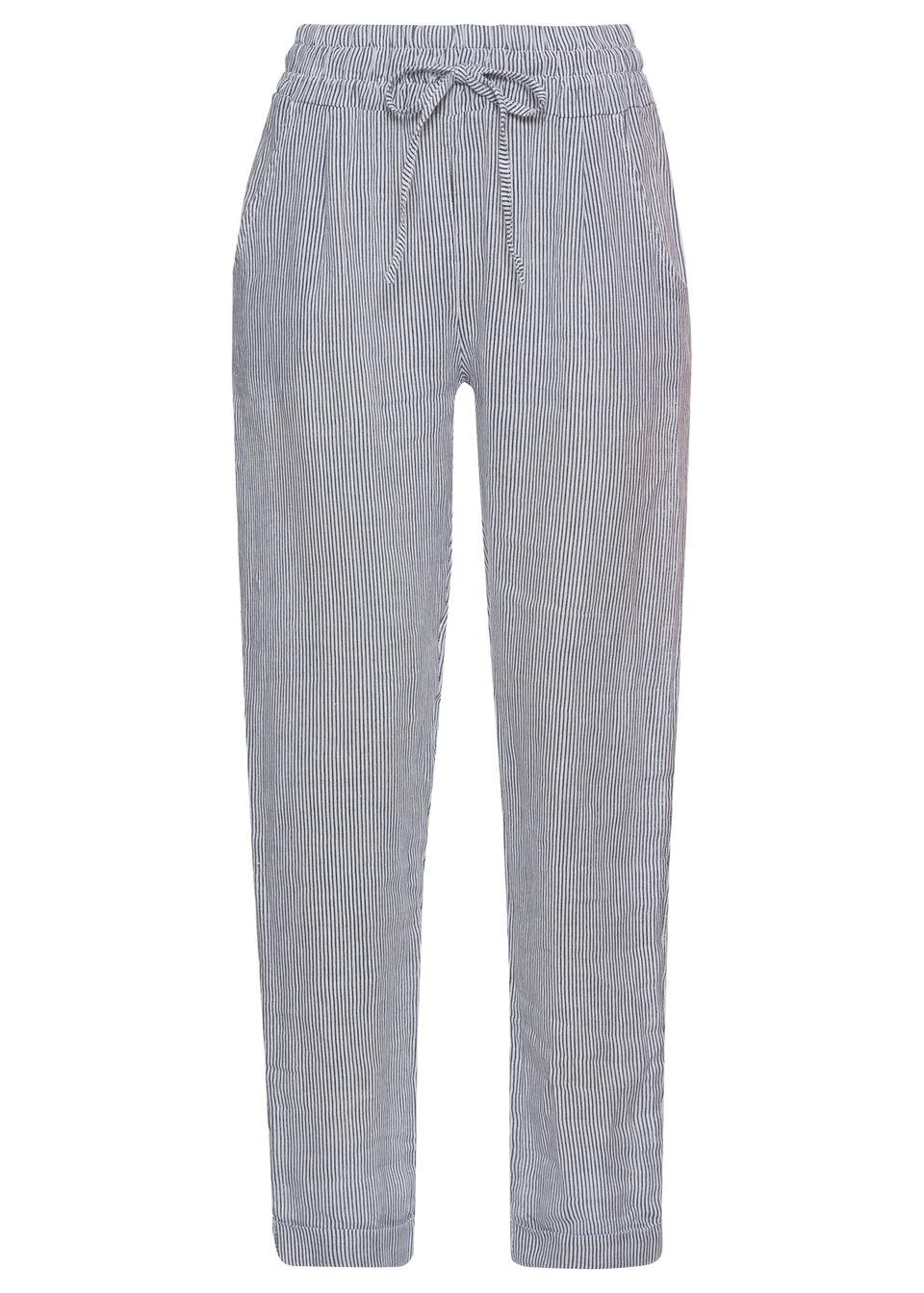 Spodnie lniane bonprix niebiesko-biały w paski