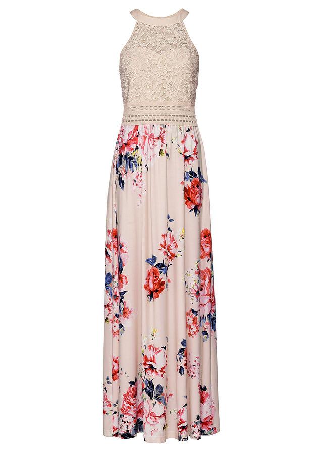 Virágmintás nyári ruha csipkével bézs-lila-rózsaszín • 11999.0 Ft • bonprix 405b675618