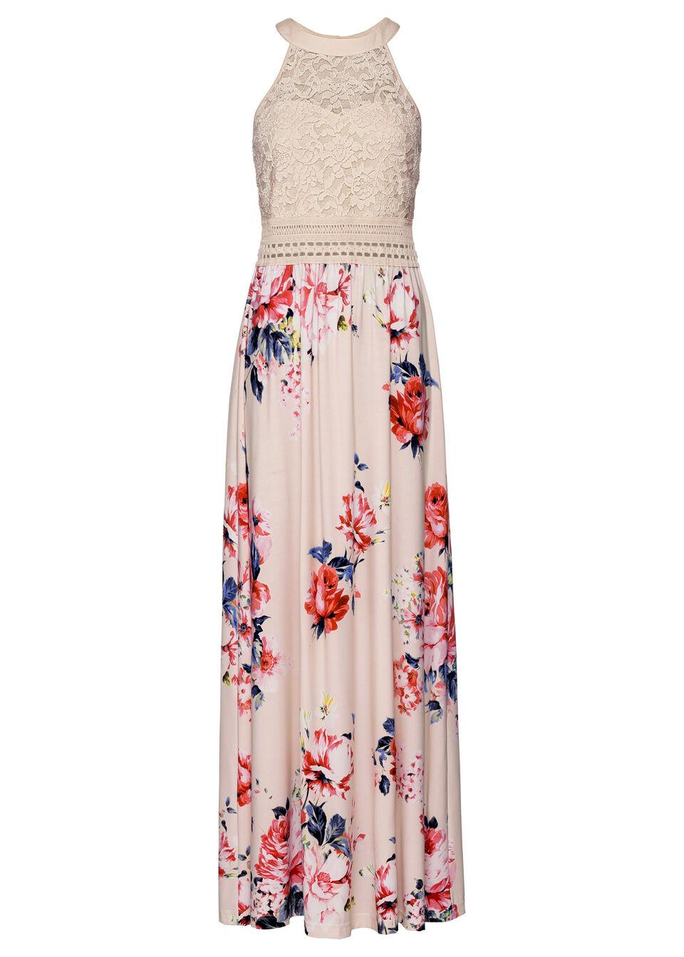 Купить Платье с цветочным принтом и кружевом, bonprix, бежевый-лиловый-розовый