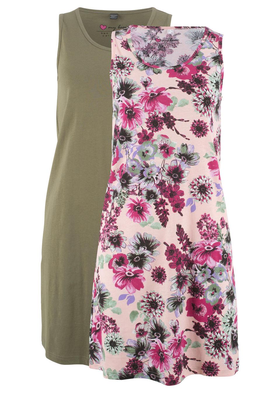 Купить Трикотажное платье (2 шт.), bonprix, розовый жемчуг с рисунком + оливковый