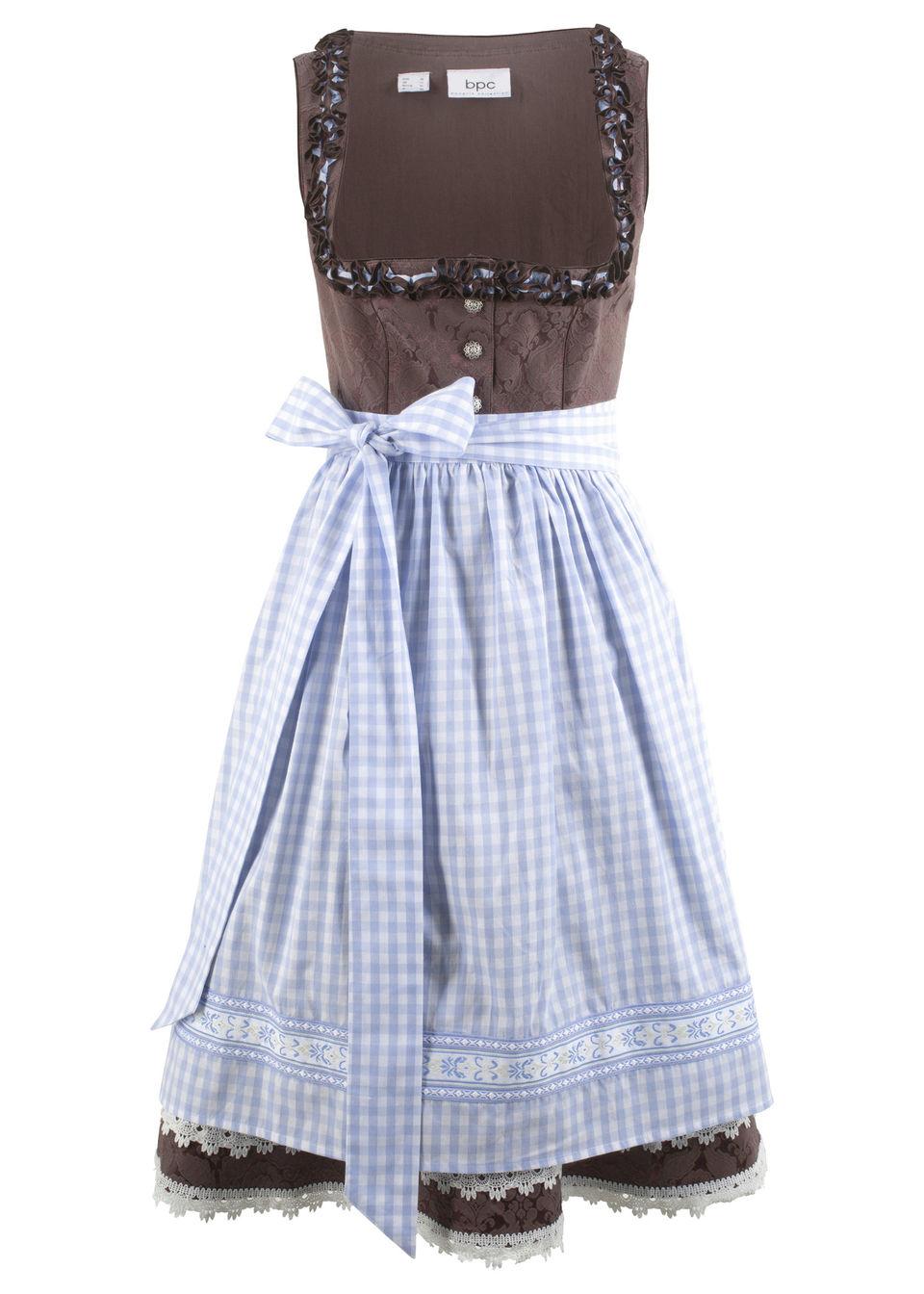 Sukienka ludowa z fartuchem, długość do kolan bonprix brązowy wzorzysty