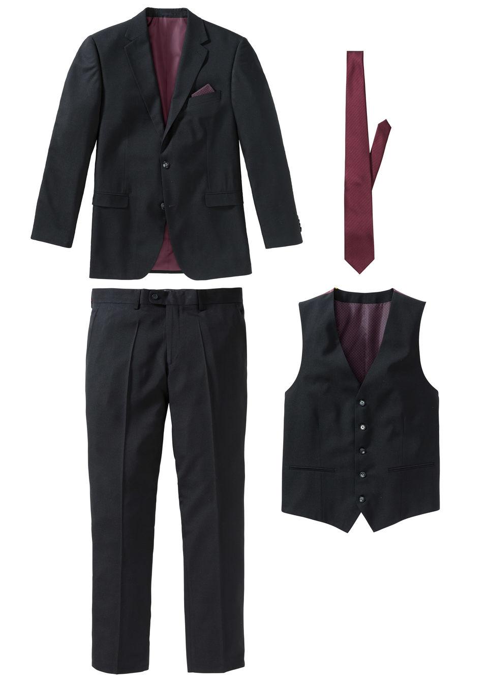 Пиджак, брюки, жилет, галстук (4 изд.) от bonprix