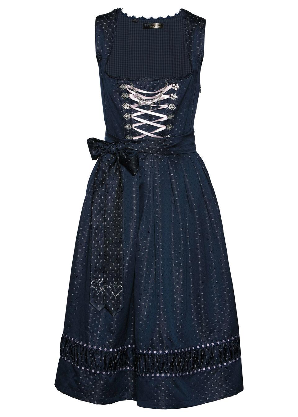 Sukienka ludowa z haftowanym fartuchem z satyny bonprix ciemnoniebiesko-pastelowy jasnoróżowy wzorzysty