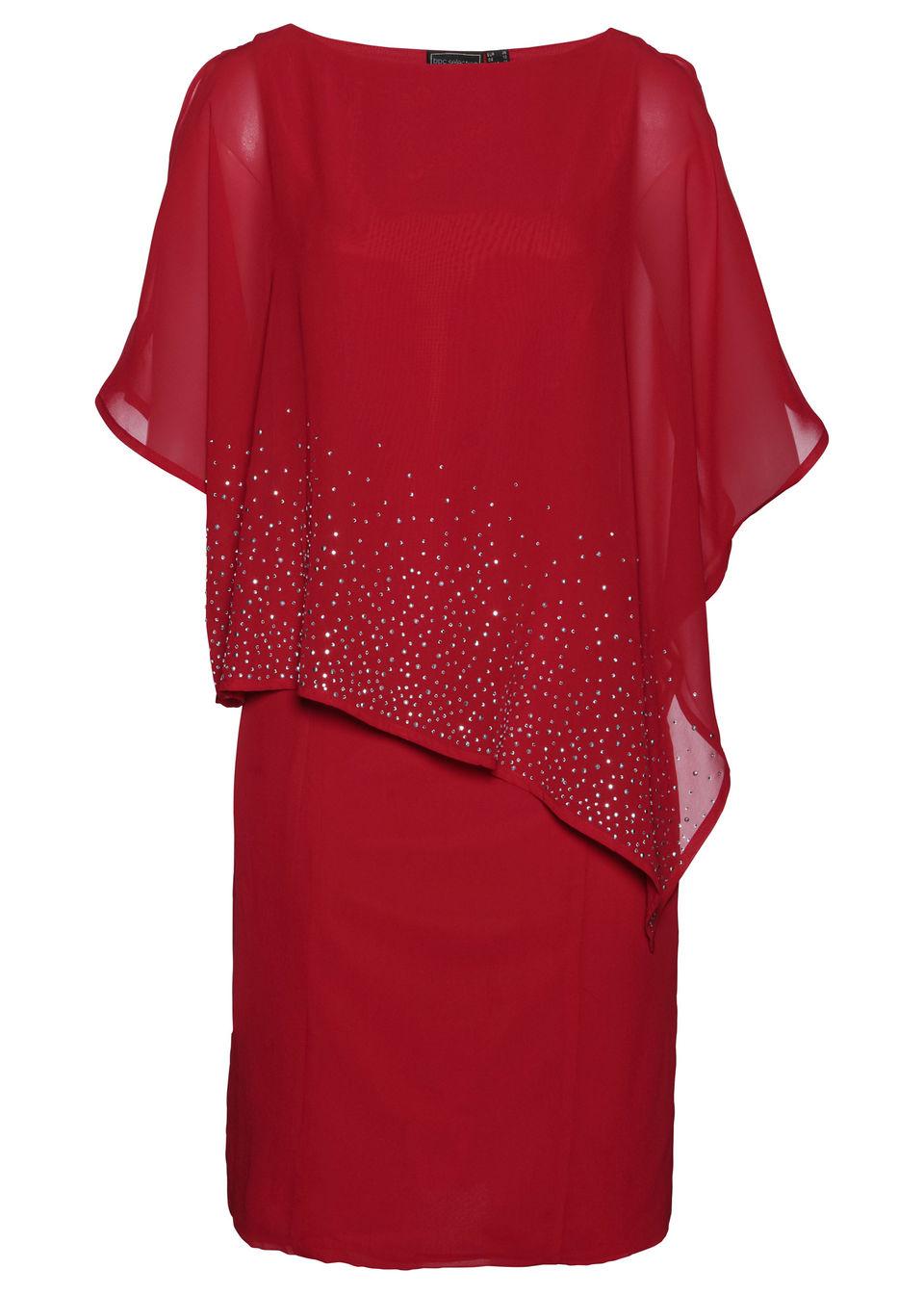 Sukienka ołówkowa z połyskującymi kamieniami bonprix czerwony chili