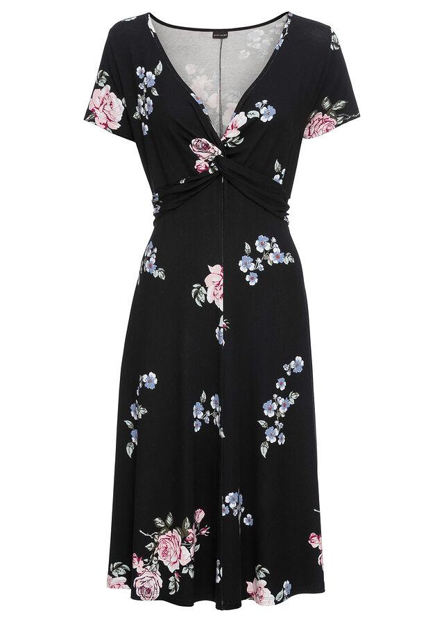 aa76dc75fb Sukienka dżersejowa czarny w kwiaty Z • 89.99 zł • bonprix
