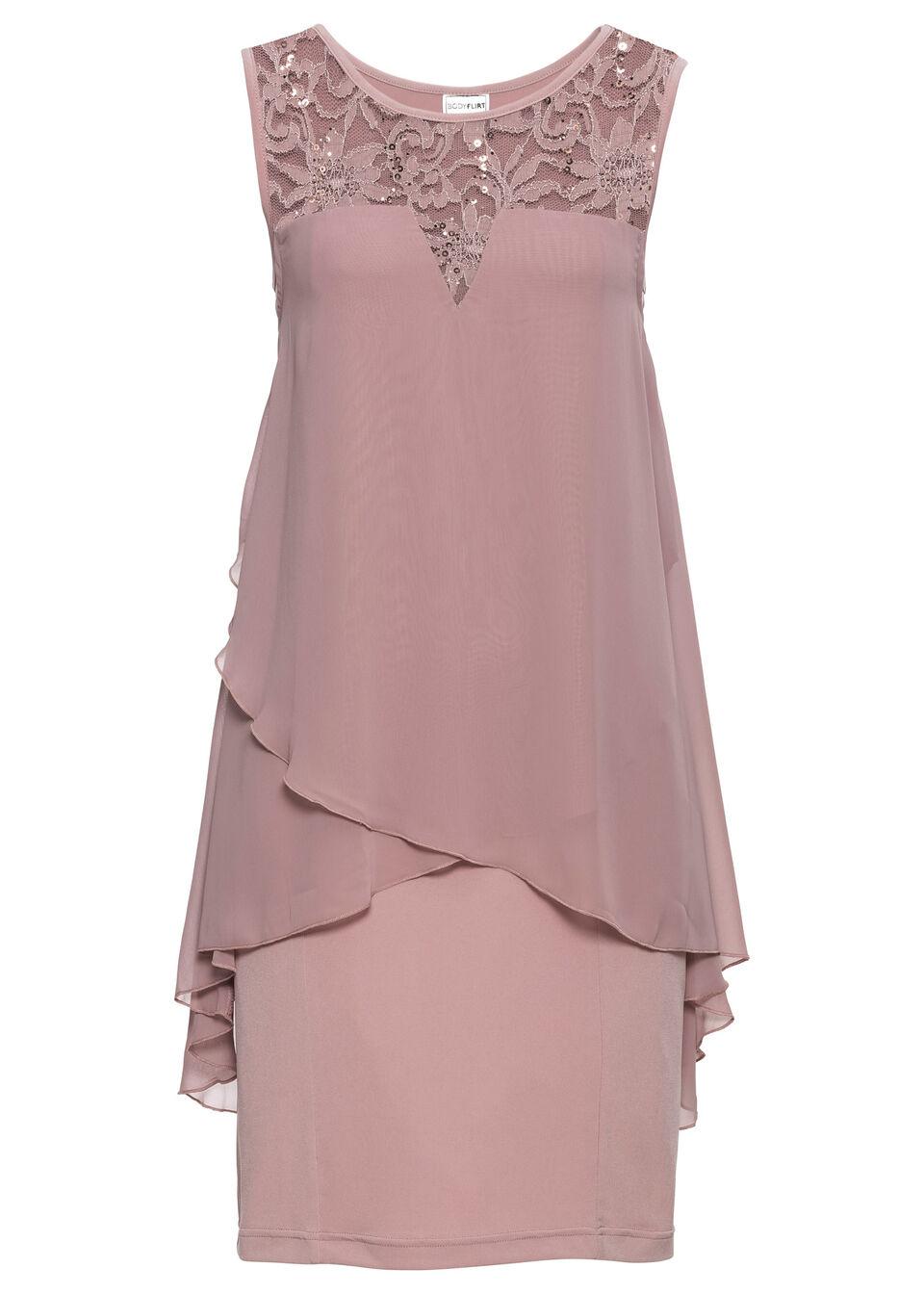 Sukienka z dżerseju i szyfonu bonprix różowobrązowy