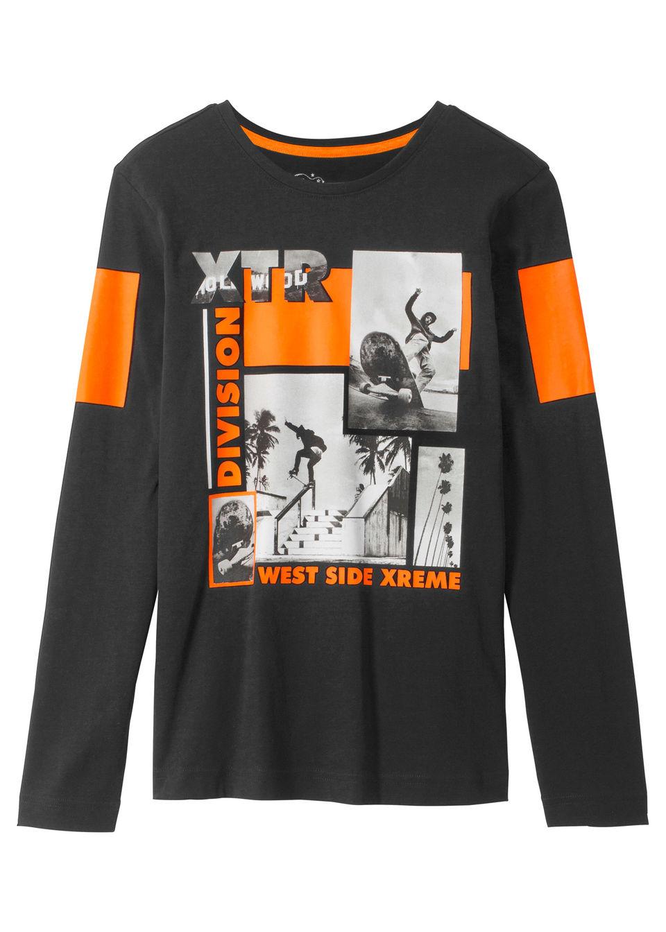 Chlapčenské tričko s dlhým rukávom s cool potlačou bonprix