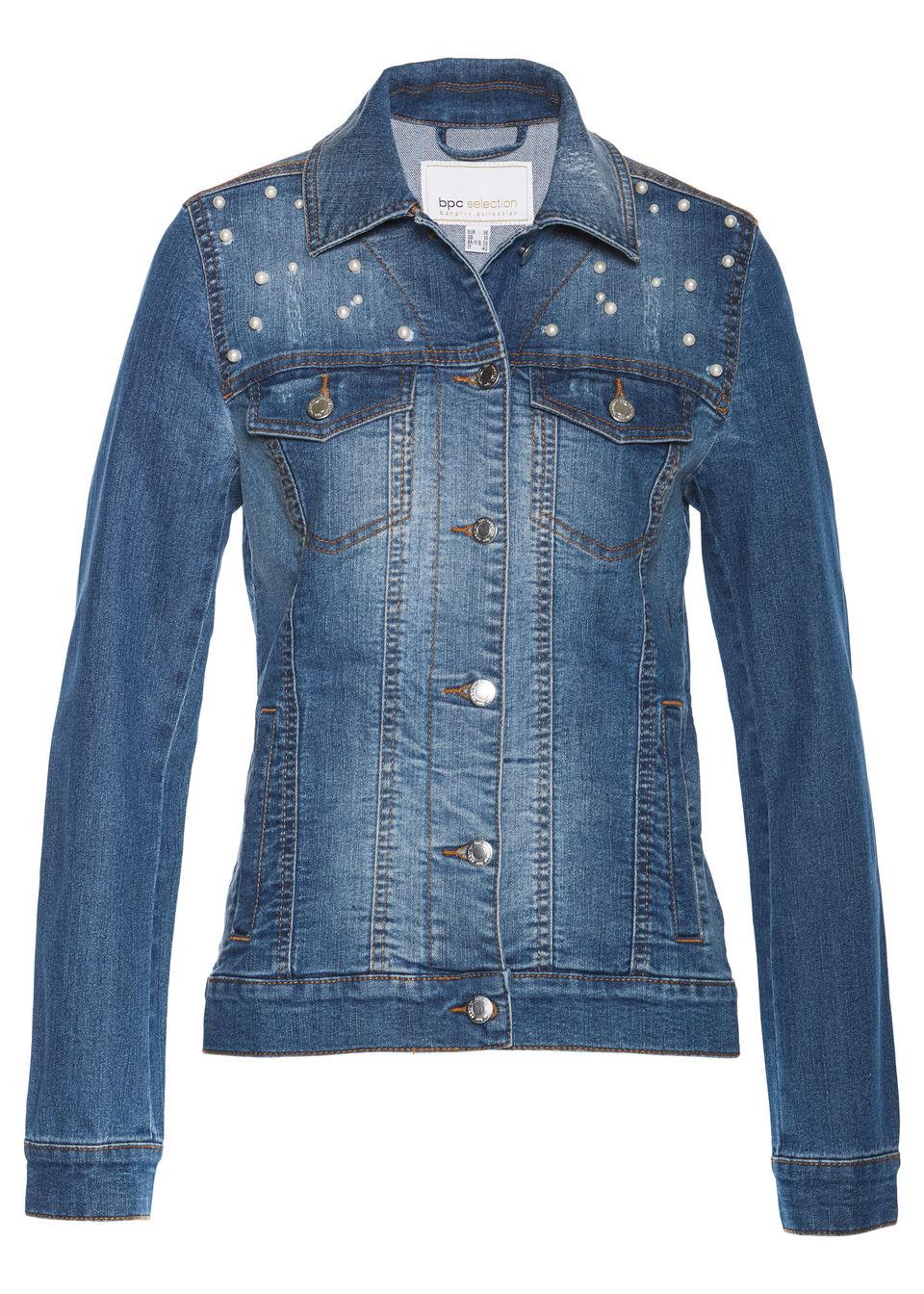 Džínsová bunda s perličkami bonprix