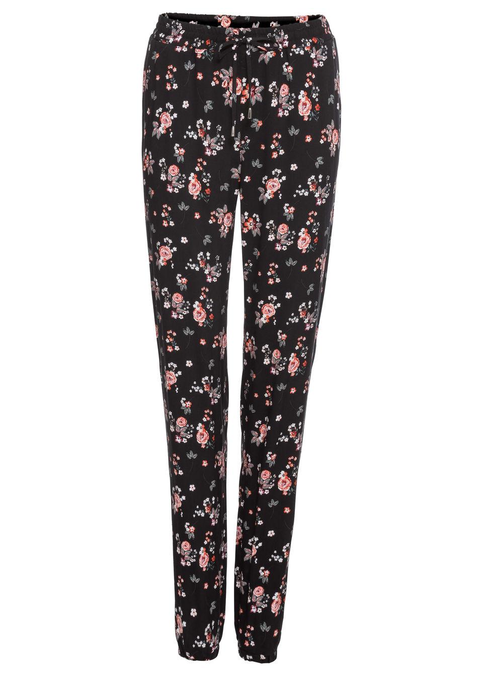 Spodnie w kwiaty bonprix czarny z nadrukiem