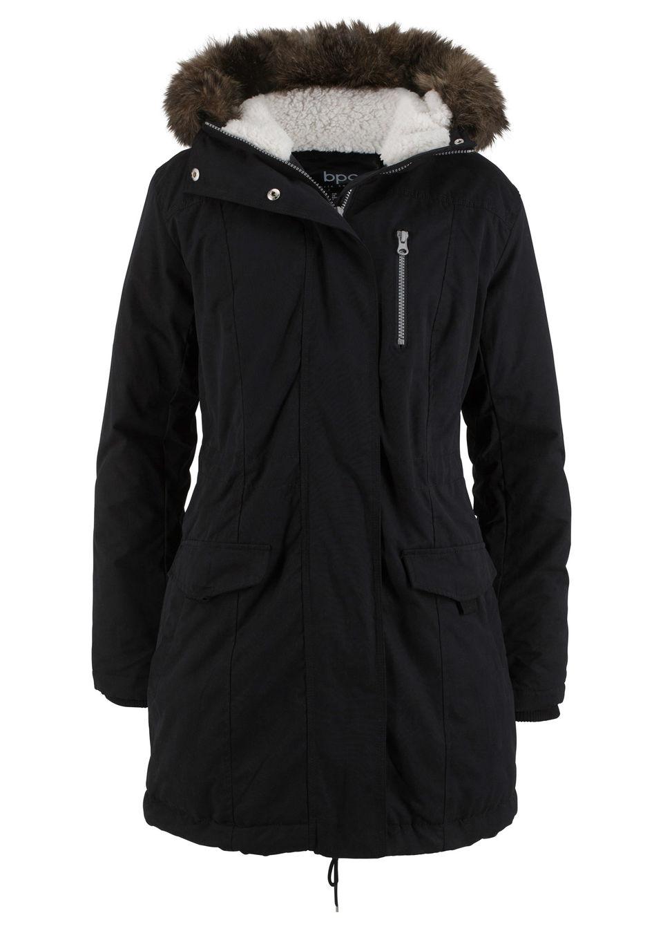 Купить Куртка-парка с капюшоном и опушкой из искусственного меха, bonprix, черный