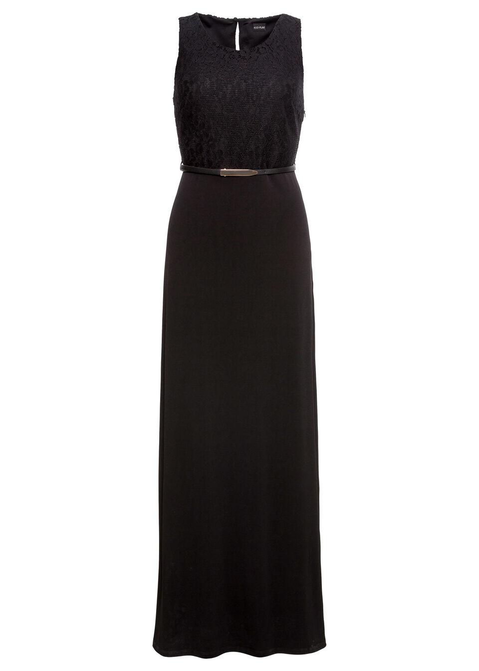Długa sukienka wieczorowa z paskiem bonprix czarny