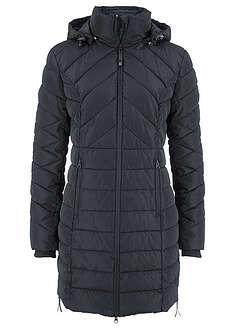 Długa kurtka pikowana, ocieplana czarny