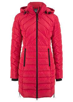 Długa kurtka pikowana, ocieplana czerwony