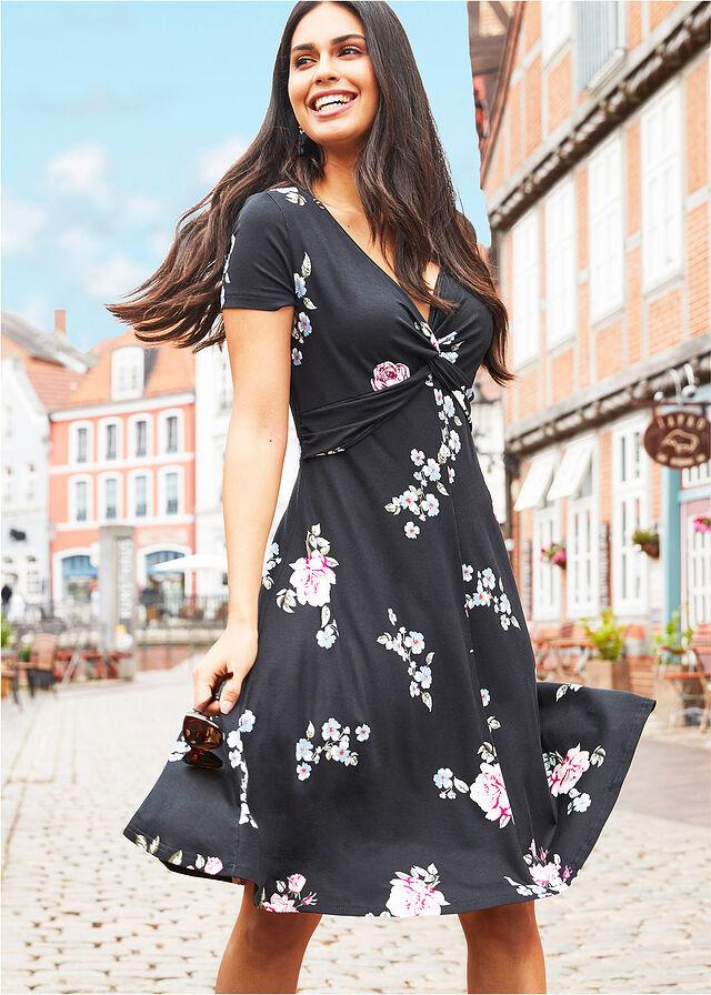 60ada9b48f Sukienka dżersejowa czarny w kwiaty Z • 89.99 zł • bonprix