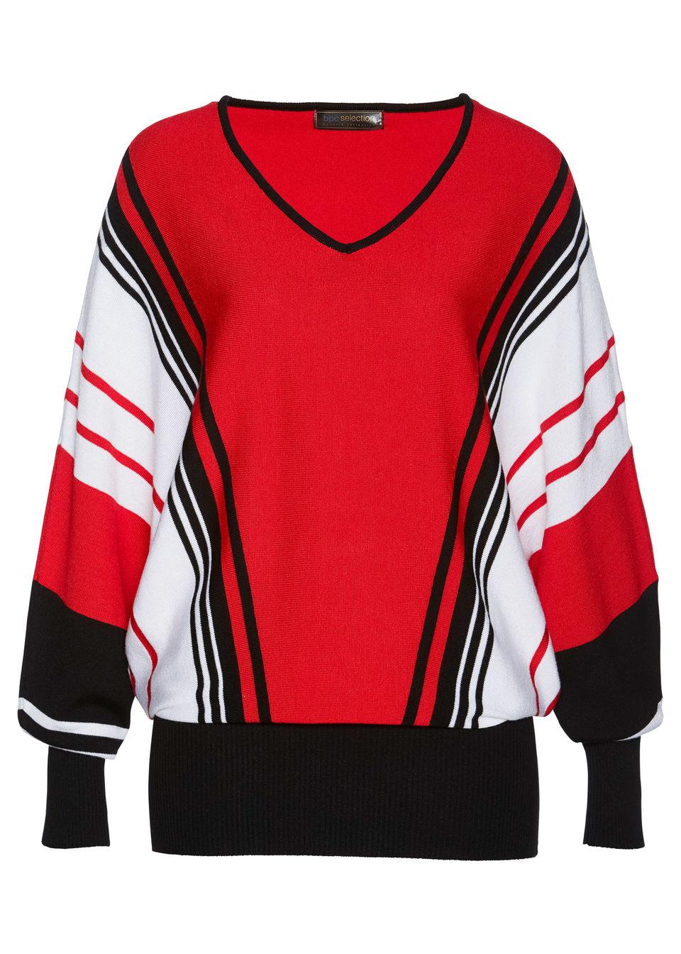 Купить Свитера, Пуловер, bonprix, клубничный/чёрный/белый в полоску