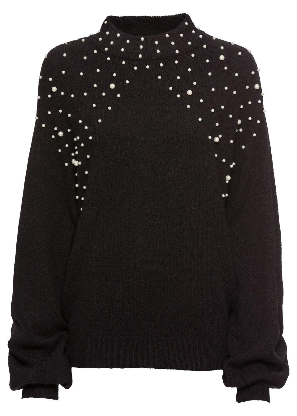 Sweter dzianinowy z perełkami bonprix czarny