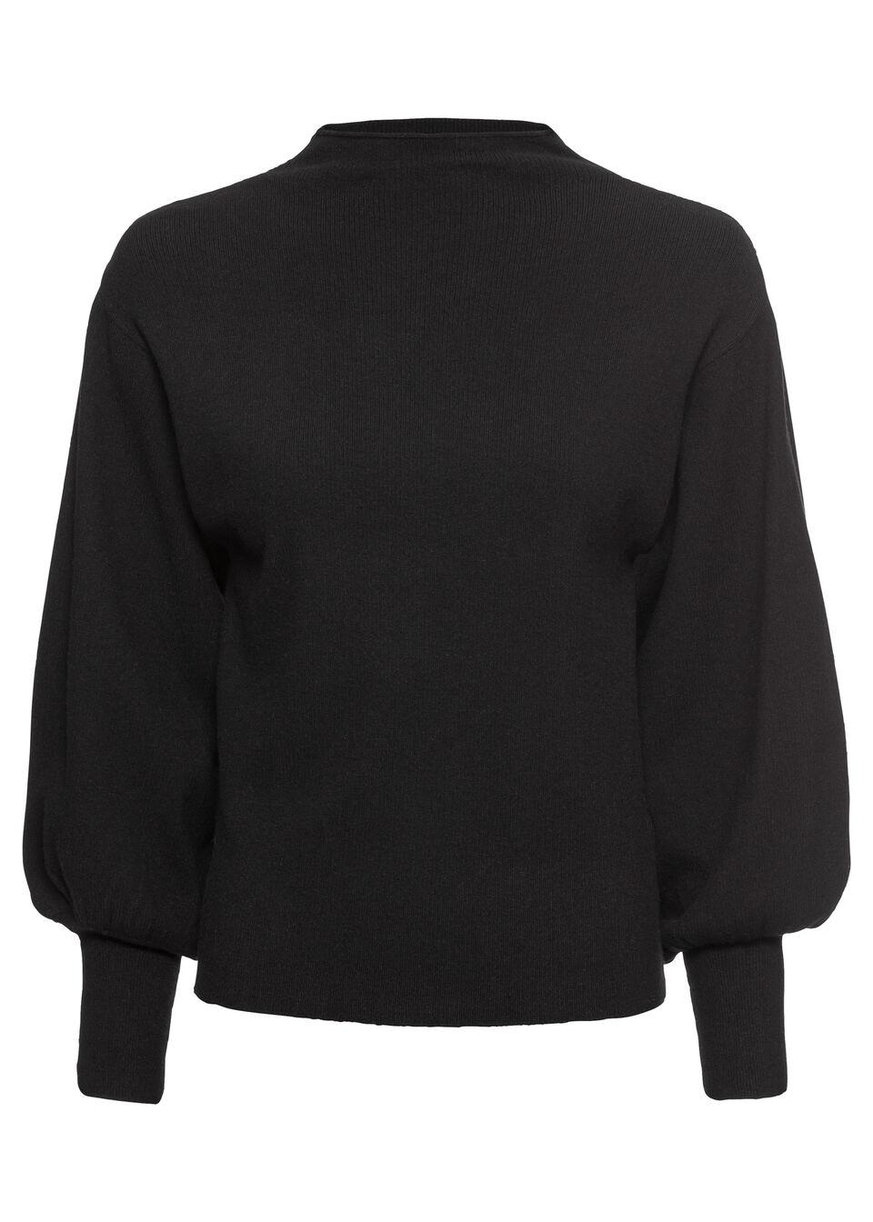Sweter dzianinowy z balonowymi rękawami bonprix czarny