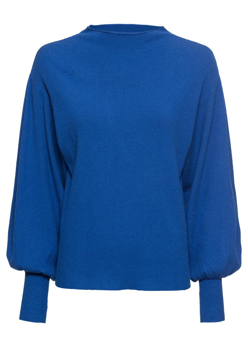 Sweter dzianinowy z balonowymi rękawami bonprix błękit królewski