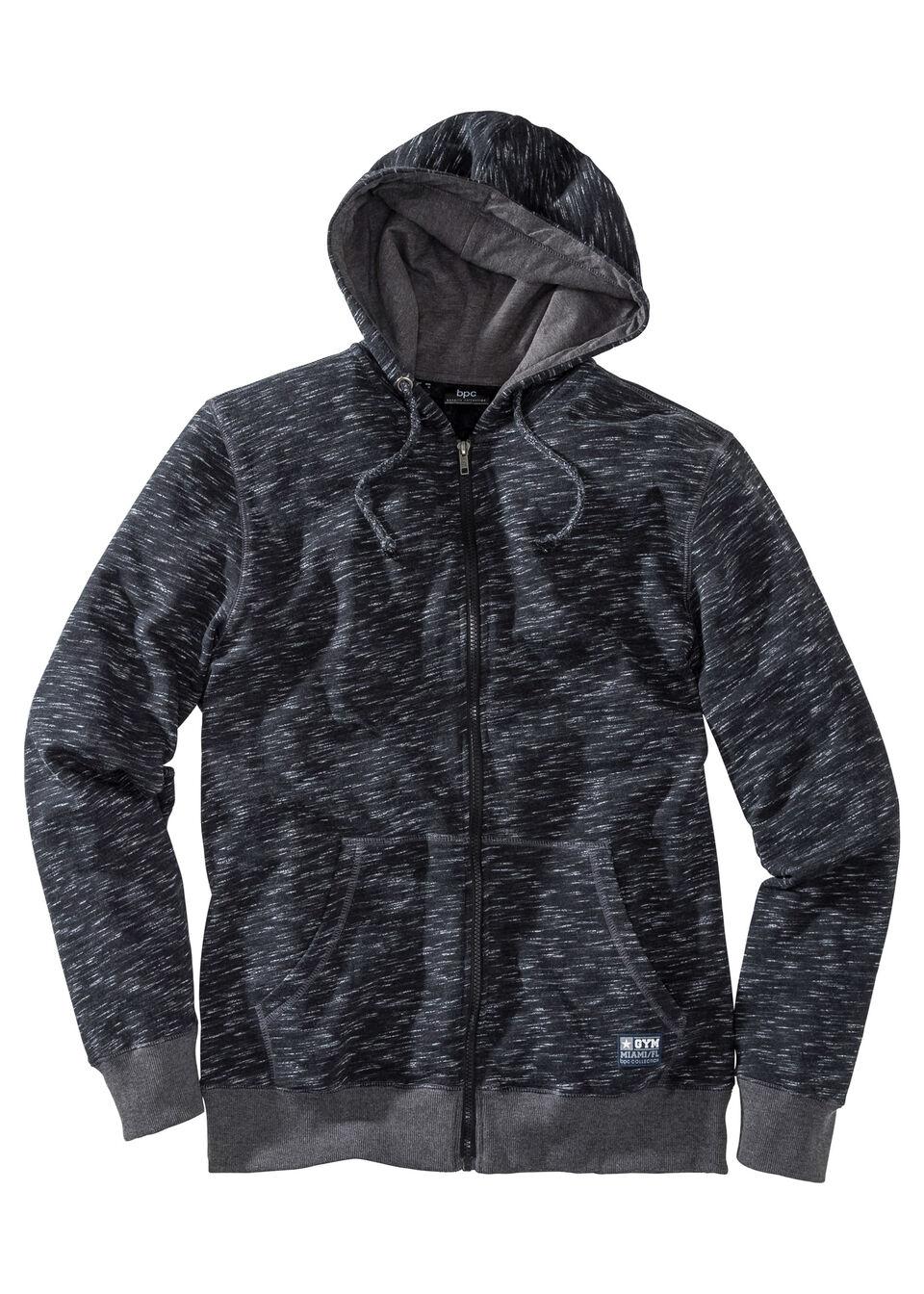 Меланжевая трикотажная куртка Regular Fit с капюшоном