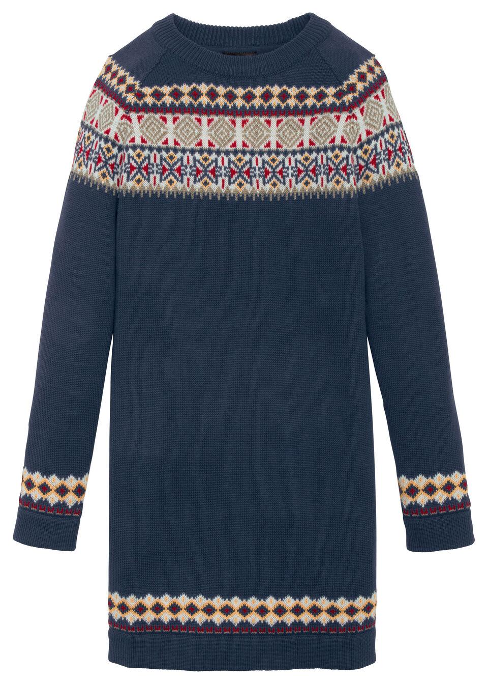 Sukienka dziewczęca dzianinowa w norweski wzór bonprix ciemnoniebieski wzorzysty