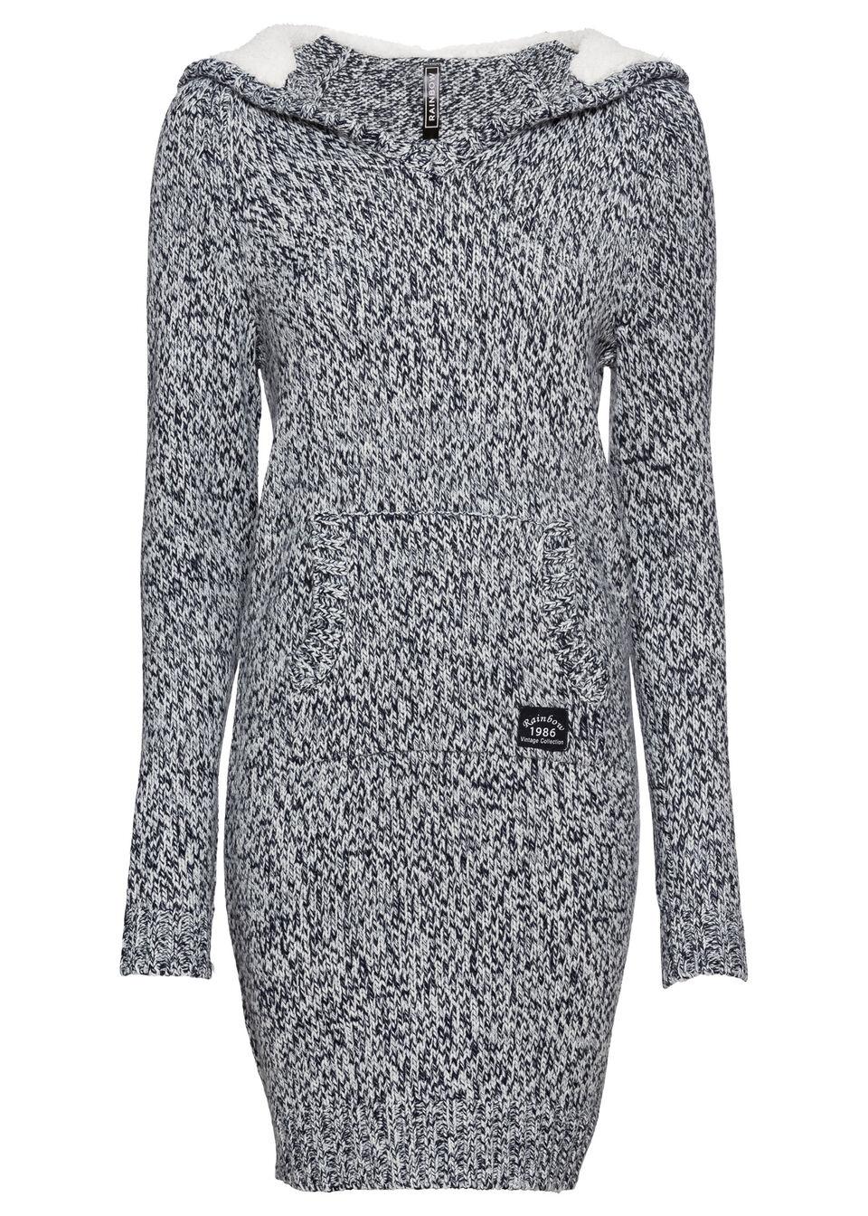 Платье вязаное с капюшоном от bonprix