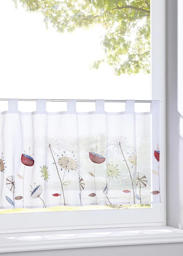 Vitrážková záclona s kvetovanou výšivkou