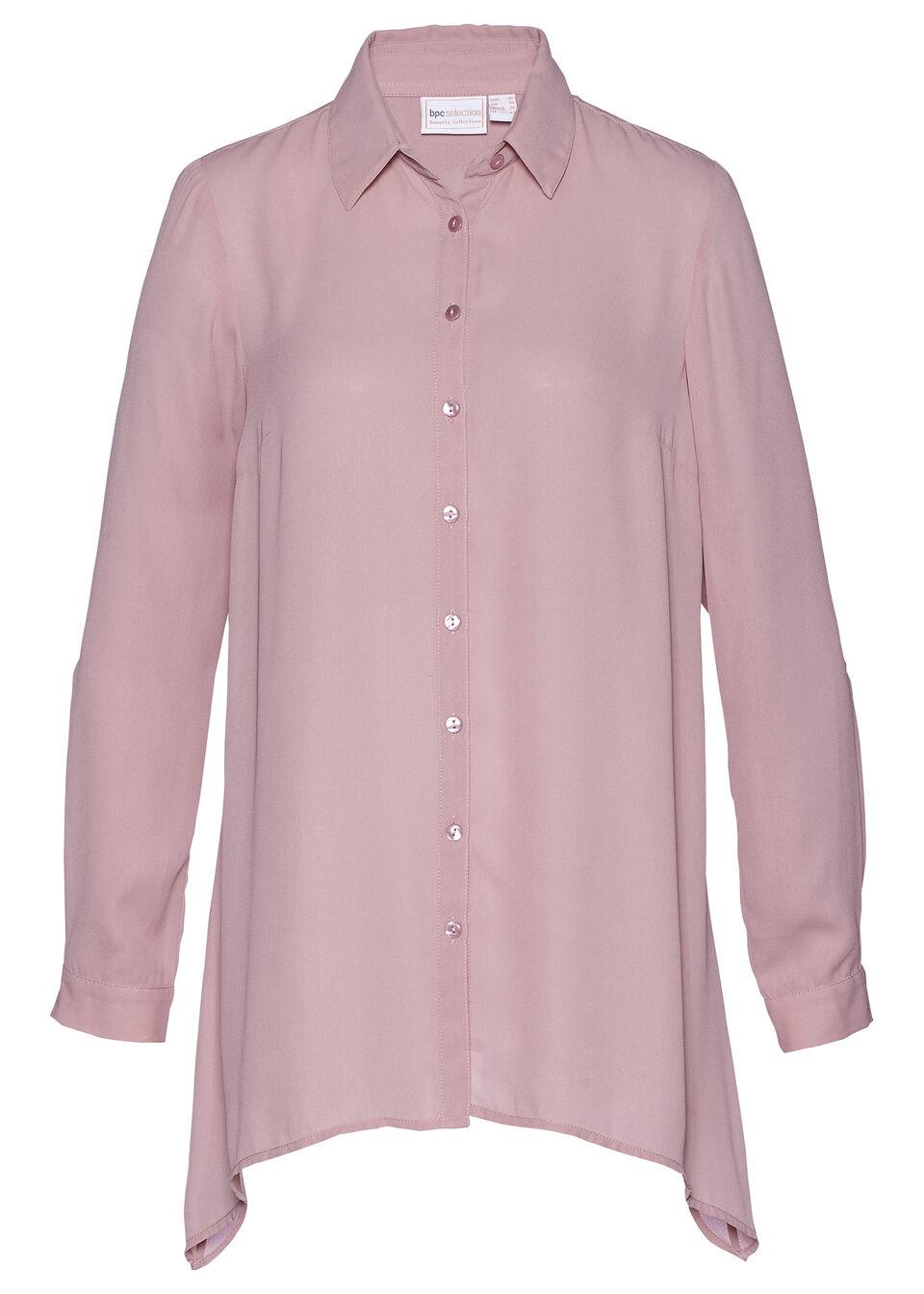 Długa  bluzka bonprix różowobrązowy