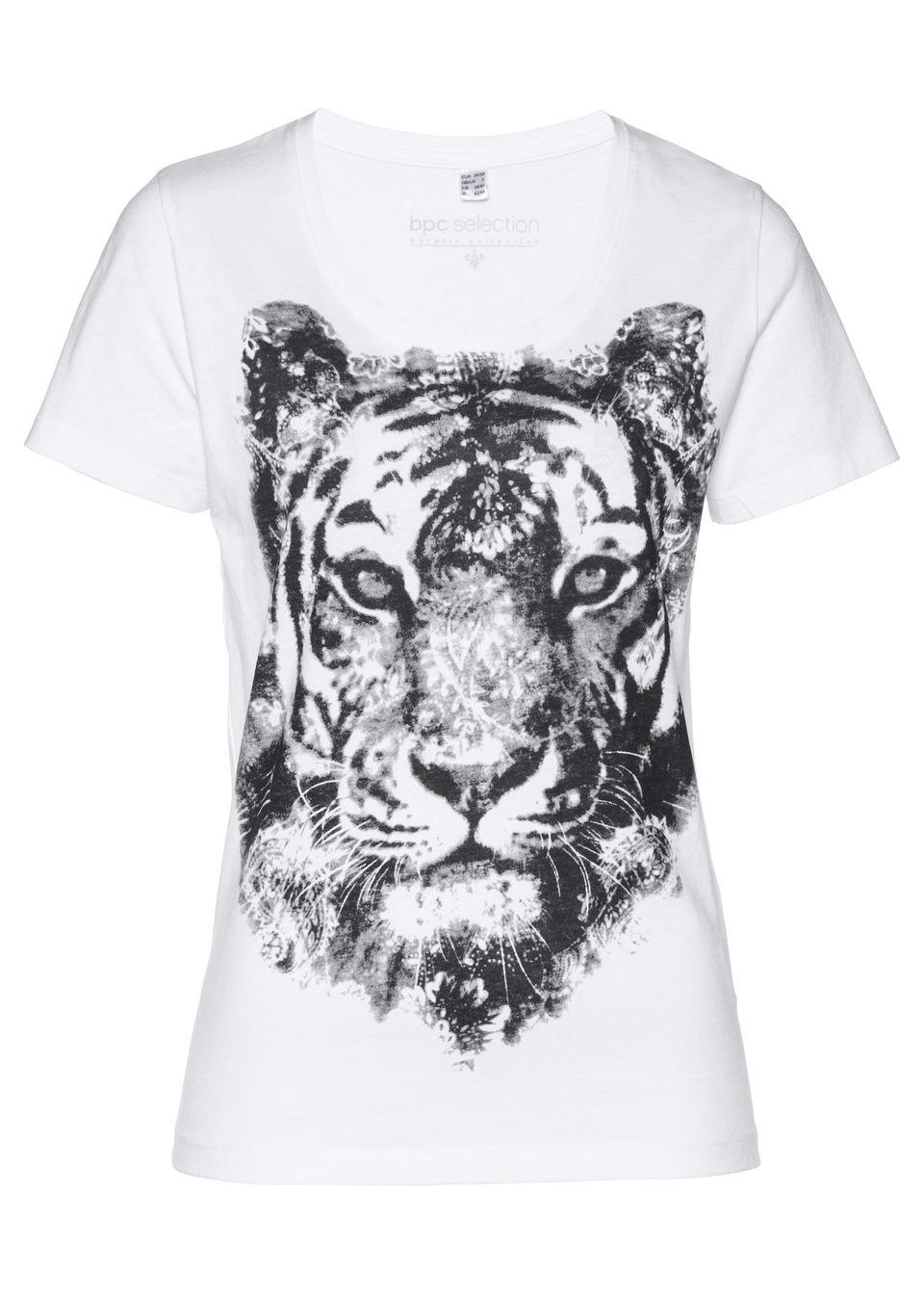 Купить Футболка с принтом в виде тигра, bonprix, белый / черный