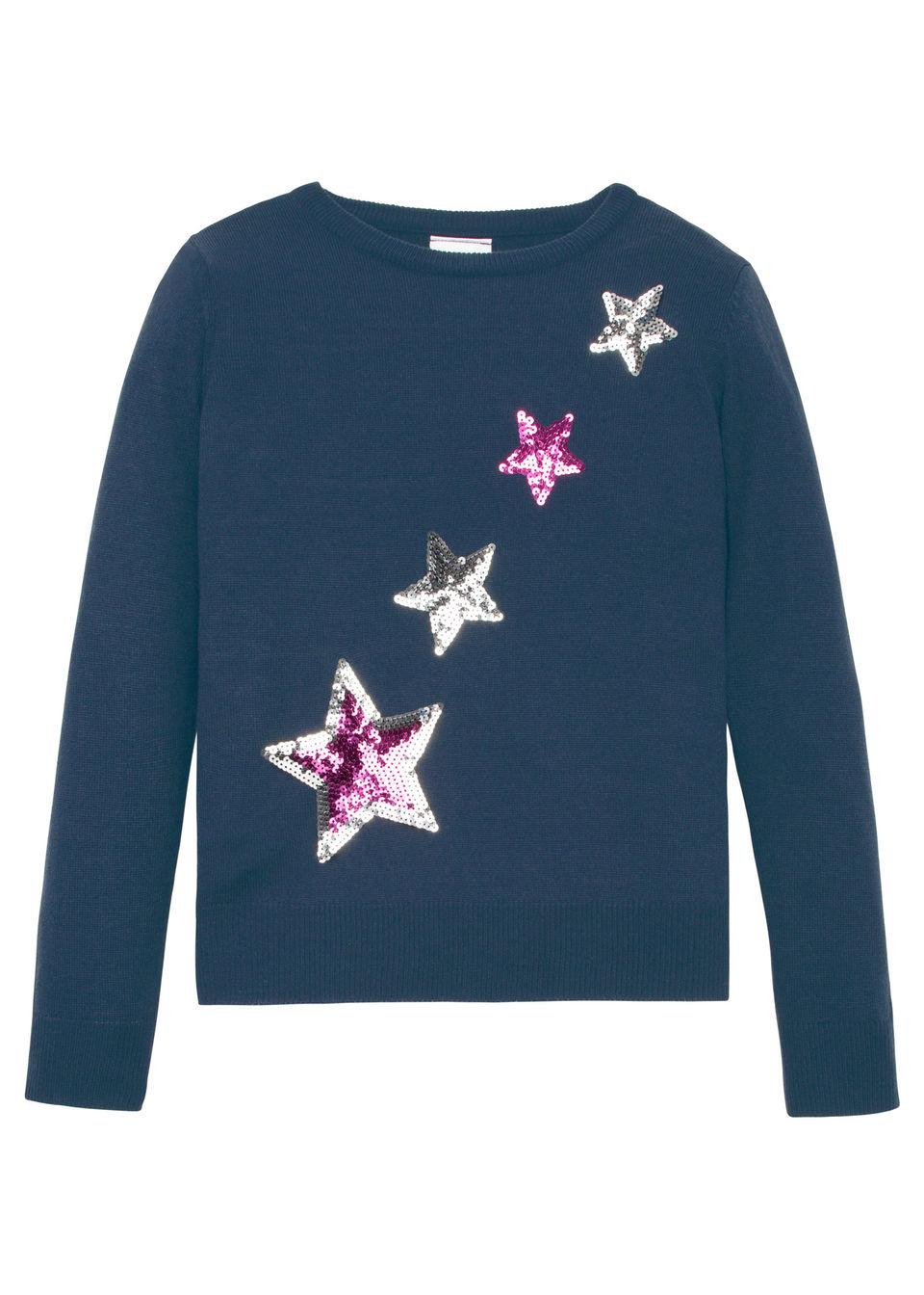 Пуловер вязаный с пайетками от bonprix