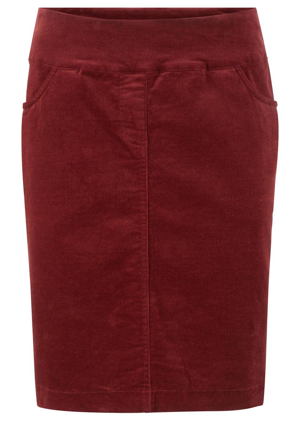 Spódnica sztruksowa ze stretchem i karczkiem bonprix czerwony kasztanowy