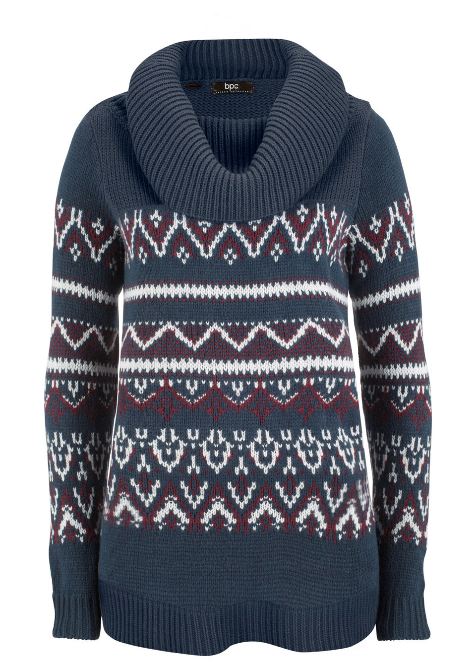 Купить Свитера, Пуловер с норвежским узором, bonprix, темно-синий с узором