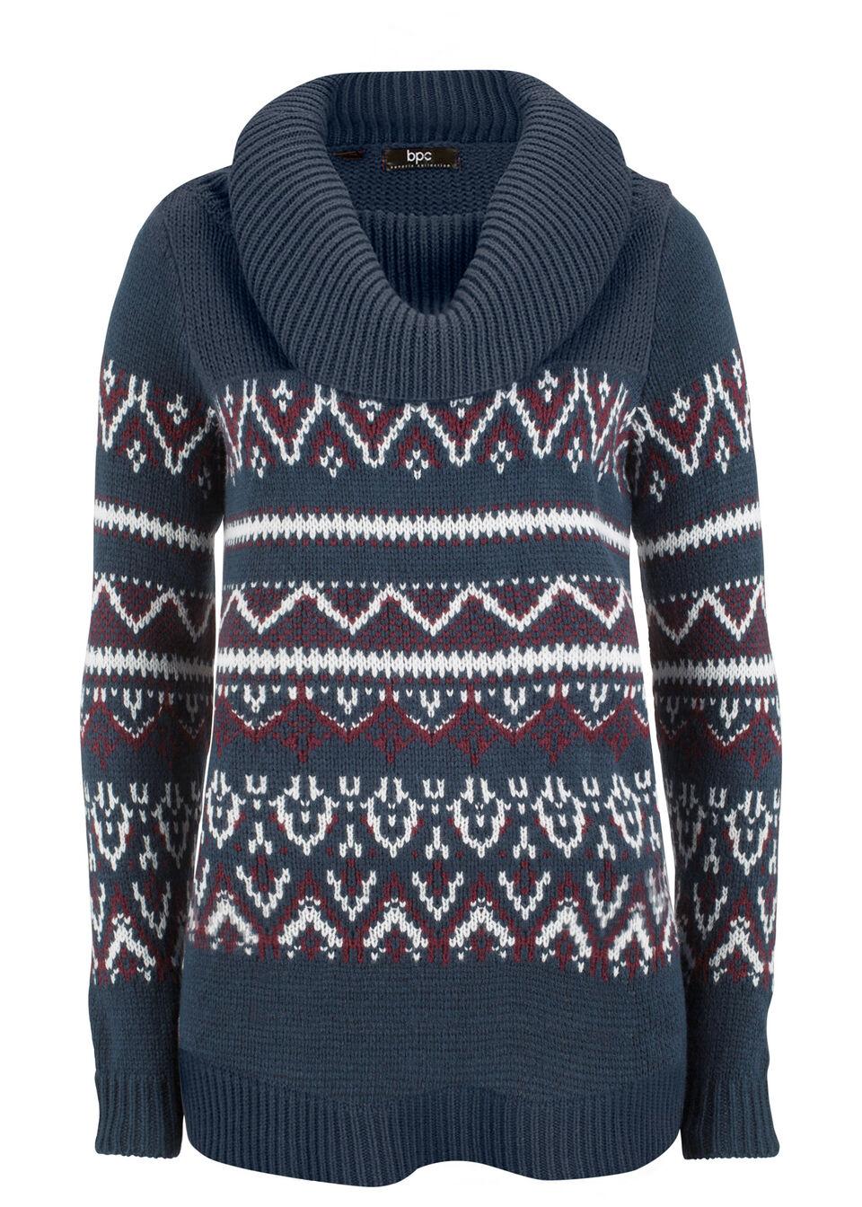 Sweter w norweski wzór, z szerokim golfem, fason o linii litery A bonprix ciemnoniebieski w norweski wzór
